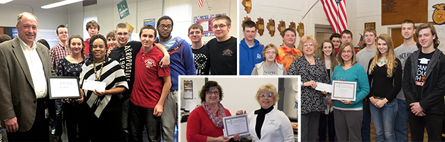 2014 Careers in Energy Week Grant Winners were In the photo above, Pat Whiteside of Nicor Gas presented the certificate of appreciation to Karen McDonald with her class at Donovan Junior-Senior High School in Donovan, IL.  Mary Zitek of the Association of Illinois Electric Cooperatives presented the certificate to Kelli Thompson with her class at Lincolnwood High School in Raymond, IL, and in the middle photo to Karen Jones of Tonica Grade School in Tonica, IL.