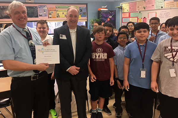 IEWC Executive Sponsor Pat Whiteside of Nicor Gas presented the award to Ed Fialek at Byrd School, Burbank School District 111, in Burbank, IL.